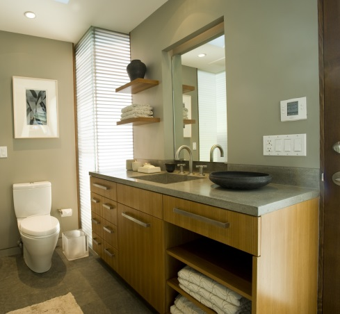 Modern Bathroom Remodel - Open Cabinetry
